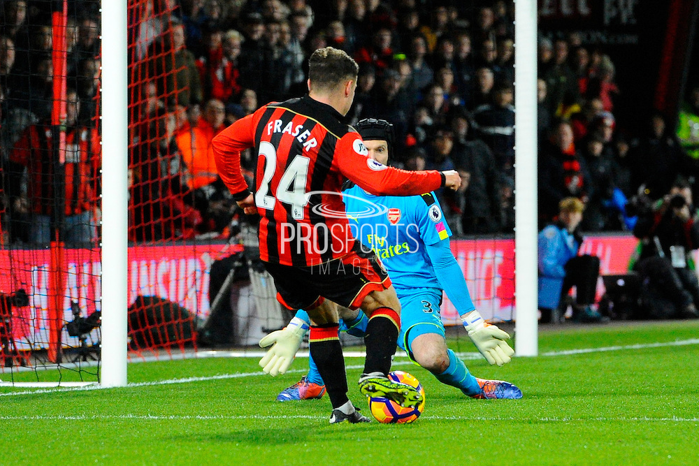 Ryan Fraser of AFC Bournemouth scoring a goal to give a 3-0 lead to the home team during the Premier League match between Bournemouth and Arsenal at the Vitality Stadium, Bournemouth, England on 3 January 2017. Photo by Graham Hunt.