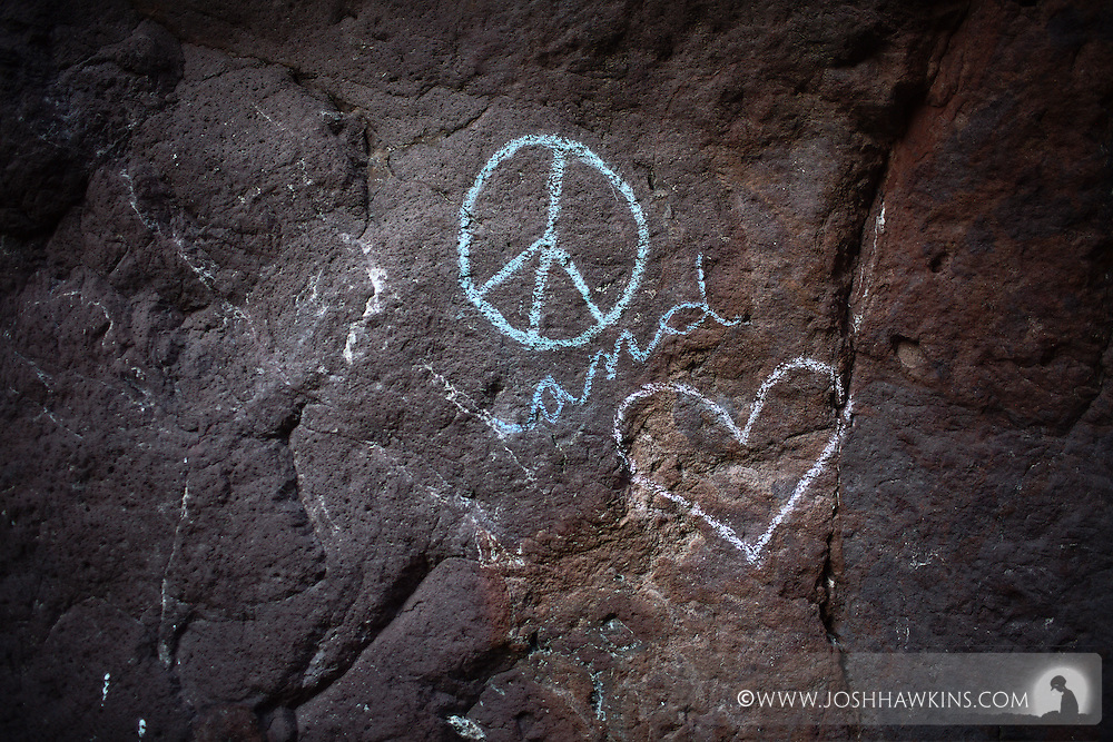 Graffiti in White Rock Canyon above the Colorado River down stream of the Hoover Dam, by Las Vegas, NV., part of the Lake Mead National Recreation Area
