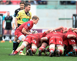Scarlets' Aled Davies puts in to the scrum<br /> <br /> Photographer Simon King/Replay Images<br /> <br /> Guinness PRO14 Round 19 - Scarlets v Glasgow Warriors - Saturday 7th April 2018 - Parc Y Scarlets - Llanelli<br /> <br /> World Copyright © Replay Images . All rights reserved. info@replayimages.co.uk - http://replayimages.co.uk