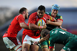 Opeti Fonua of London Welsh is tackled - Photo mandatory by-line: Patrick Khachfe/JMP - Mobile: 07966 386802 23/11/2014 - SPORT - RUGBY UNION - Oxford - Kassam Stadium - London Welsh v Leicester Tigers - Aviva Premiership