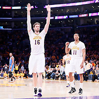 09 March 2014: Los Angeles Lakers center Pau Gasol (16) and Los Angeles Lakers small forward Wesley Johnson (11) celebrate the win during the Los Angeles Lakers 114-110 victory over the Oklahoma City Thunder at the Staples Center, Los Angeles, California, USA.