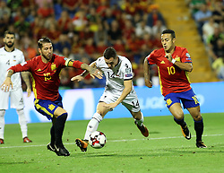 Taulant XHAKA of Albania in the middle between Sergio Raamos, left and THiago ALcantara, right both Spain in action during the World Cup qualification match between Spain vs Albania in Alicante, Spain, on October 06, 2017. Photo by Giuliano Bevilacqua/ABACAPRESS.COM