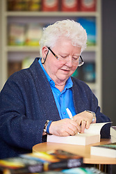 © Licensed to London News Pictures. 14/03/2017. LONDON, UK.  London Book Fair. In this picture: Author VAL MCDERMID signing copies of her books.  Photo credit: Cliff Hide/LNP