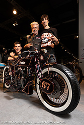Angelo Lanciano with his American Dreams' 1927 Indian Scout custom from Lissone, Italy in the AMD World Championship of Custom Bike Building in the Intermot Customized hall during the Intermot International Motorcycle Fair. Cologne, Germany. Sunday October 7, 2018. Photography ©2018 Michael Lichter.