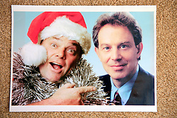 WARNING - UNCERTAIN ORIGIN AND AUTHENTICITY - MAY BE PHOTOSHOPPED..UK ENGLAND WILTSHIRE MELKSHAM 17DEC09 - Reproduction of Andy Park and former Prime Minister Tony Blair at Park's house in Melksham, Wiltshire, where the self-proclaimed Mr Christmas celebrates Christmas every day. Mr Park, a 45-year-old divorced electrician, has consumed nearly 118,000 brussel sprouts and about 5000 bottles of Moet champagne since he decided to get into the festive spirit full-time in July 1994...jre/Photo by Jiri Rezac..© Jiri Rezac 2009