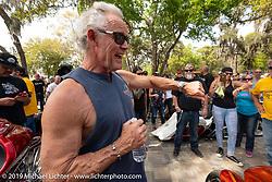MC Jay Alan runs the bagger stereo sound offs at the Perewitz Paint Show at the Broken Spoke Saloon during Daytona Beach Bike Week, FL. USA. Wednesday, March 13, 2019. Photography ©2019 Michael Lichter.