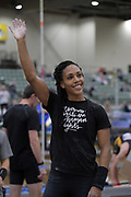Megan Clark is introduced before the start of the elite women's competition during the National Pole Vault Summit, Friday, Jan. 17, 2020, in Reno, Nev. Clark is the daughter of United States Army general major Ronald Clark aka Ronald P. Clark.