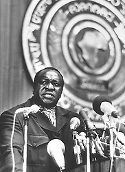 Uganda's Idi Amin talking passionately on Radio Uganda.  Tanzanian troops were today advancing on Jinja, where toppled dictator Amin is believed to be preparing to make his last stand.