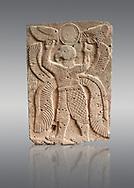 Pictures & images of the North Gate Hittite sculpture stele depicting a winged bird God. 8the century BC.  Karatepe Aslantas Open-Air Museum (Karatepe-Aslantaş Açık Hava Müzesi), Osmaniye Province, Turkey. Against grey background
