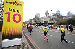 Runners at the Ten Mile mark during the 2018 London Landmarks Half Marathon. PRESS ASSOCIATION Photo. Picture date: Sunday March 25, 2018. Photo credit should read: Steven Paston/PA Wire