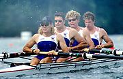Atlanta Olympics 1996 - Lake Lanier, USA, GBR M4- left Tim Foster, Greg Searle, Jonny Searle and Rupert Obholzer, All Rights Reserved - Peter Spurrier/Intersport Images,<br /> Mobile 44 (0) 973 819 551<br /> email images@intersport-images.com