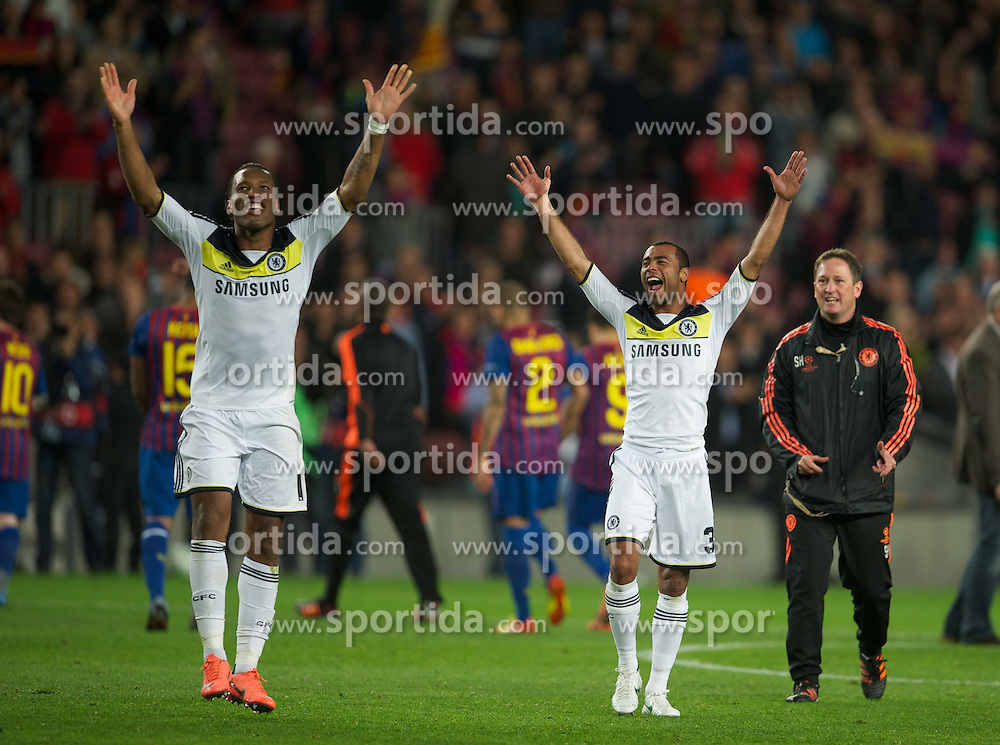 24.04.2012, Stadion Camp Nou, Barcelona, ESP, UEFA CL, Halblfinal-Rueckspiel, FC Barcelona (ESP) vs FC Chelsea (ENG), im Bild Chelsea's Didier Drogba and Ashley Cole celebrate their side's 3-2 victory over FC Barcelona after the UEFA Championsleague Halffinal 2st Leg Match, between FC Barcelona (ESP) and FC Chelsea (ENG), at the Camp Nou Stadium, Barcelona, Spain on 2012/04/24. EXPA Pictures © 2012, PhotoCredit: EXPA/ Propagandaphoto/ David Rawcliff..***** ATTENTION - OUT OF ENG, GBR, UK *****