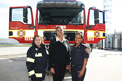 South Africa - Cape Town - 6 August 2020 - (Women's Day series) Female firefighters from left to right: Senior Fire Fighter Elthea Levitt, Kim Carolissen and Edwina Young posing for a picture infront of a fire engine at Brackenfell Fire station. Firefighting has historically been a predominantly male profession throughout the world. Picture: Henk Kruger/African News Agency (ANA)