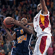 Galatasaray's Jamon Lucas Gordon (R) and Asseco Prokom's Oliver Lafayette (L) during their Euroleague group D matchday 6 Galatasaray between Asseco Prokom at the Abdi Ipekci Arena in Istanbul at Turkey on Thursday, November 24 2011. Photo by TURKPIX