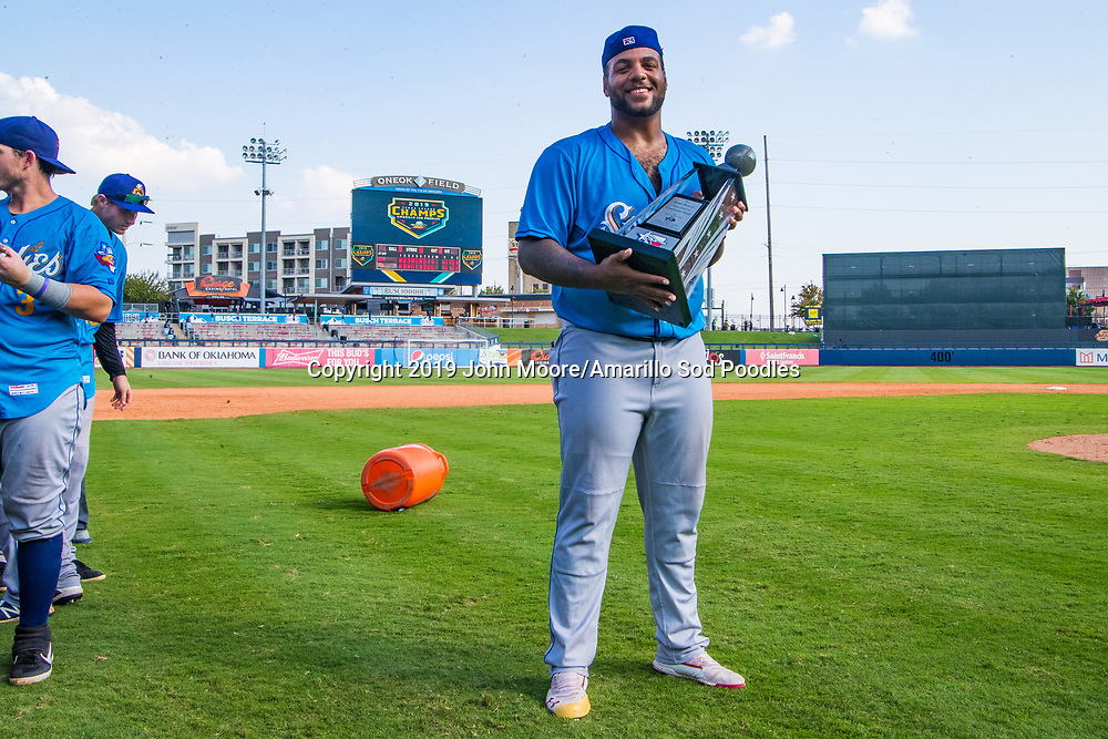 Amarillo Sod Poodles pitcher Jordan Gerrero (40) poses with the trophy after the Sod Poodles won against the Tulsa Drillers during the Texas League Championship on Sunday, Sept. 15, 2019, at OneOK Field in Tulsa, Oklahoma. [Photo by John Moore/Amarillo Sod Poodles]