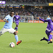 Steven Mendoza, NYCFC, hits the post with a shot as Darwin Ceren, Orlando, challenges during the New York City FC Vs Orlando City, MSL regular season football match at Yankee Stadium, The Bronx, New York,  USA. 18th March 2016. Photo Tim Clayton