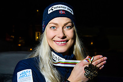 February 8, 2019 - Are, Sweden - Ragnhild Mowinckel of Norway poses for at portrait with her bronze medal after the medal ceremony for the women's combination during the FIS Alpine World Ski Championships. (Credit Image: © Daniel Stiller/Bildbyran via ZUMA Press)