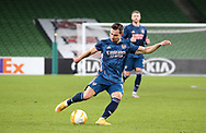 Cedric Soares of Arsenal takes a shot during the Europa League Group B match between Dundalk and Arsenal at Aviva Stadium, Dublin, Republic of Ireland on 10 December 2020.