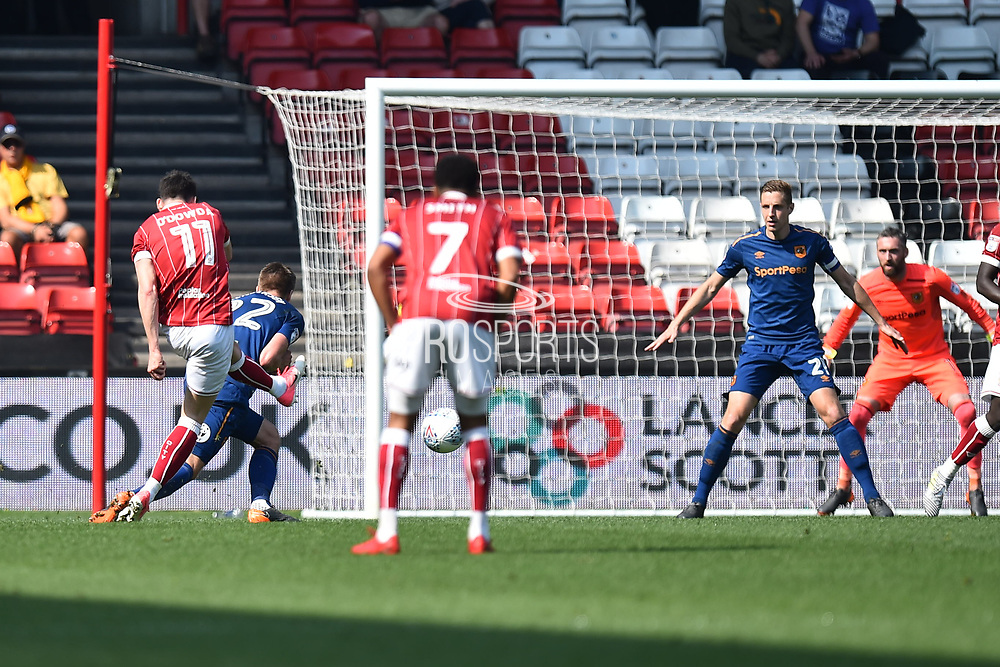 Callum O'Dowda (11) of Bristol City shoots at goal during the EFL Sky Bet Championship match between Bristol City and Hull City at Ashton Gate, Bristol, England on 21 April 2018. Picture by Graham Hunt.