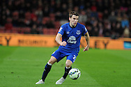 Seamus Coleman of Everton in action.Barclays Premier League match, Stoke city v Everton at the Britannia Stadium in Stoke on Trent , Staffs on Wed 4th March 2015.<br /> pic by Andrew Orchard, Andrew Orchard sports photography.