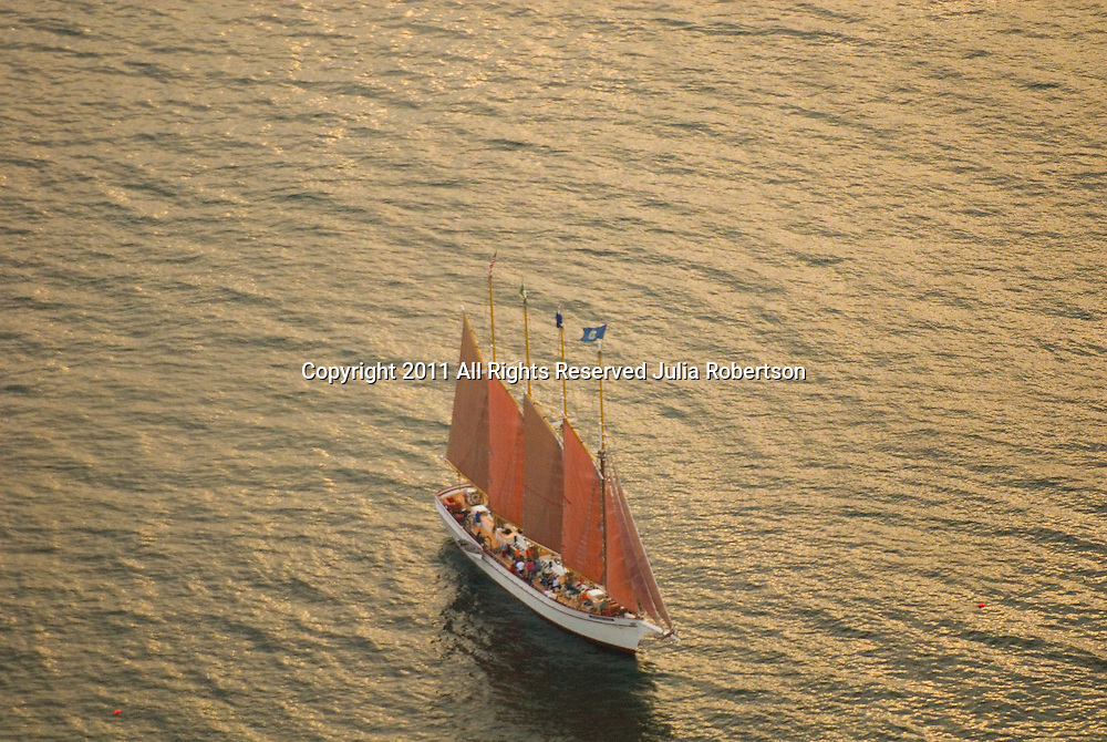 Aerial view of Schooner outside of Bar Harbor Maine A