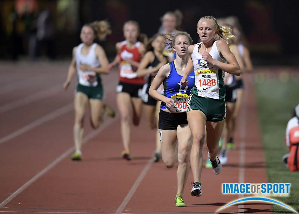 Apr 7, 2018; Arcadia, CA, USA; McKenna Brown (1488) of La Costa Cnyn defeats TJ Martinez (270) of Brophy Prep (AZ) to win the girls invitational mile, 4:49.63 to 4:49.92,  during the 51st Arcadia Invitational at Arcadia High.