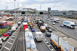 © Licensed to London News Pictures.29/03/2018<br /> Dartford, UK.<br /> Dartford Crossing Kent.<br />  Maundy Thursday Easter traffic chaos has started early on the A282 (Anti clock-wise towards M25) near Queen Elizabeth II Bridge in Dartford,Kent. <br /> Photo credit: Grant Falvey/LNP