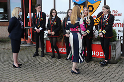 Lochgelly High School Exam results<br /> <br /> Shirley-Anne Somerville chats to students watched by Lochgelly High Head teacher, Debbie Aitkin<br /> <br /> (c) David Wardle | Edinburgh Elite media