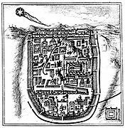 Comet of 66 AD (Halley) over Jerusalem. From Stanislas Lubenietski 'Historia Universalis Omulum Cometarum' Amsterdam 1666. Engraving.