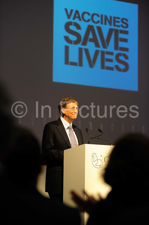 Bill Gates speaks to Global leaders gather for the Gavi Alliance conference to drive a new, forceful impetus to immunisation efforts in the world's poorest countries on 13th June 2016 in London, United Kingdom. Gavi, the Vaccine Alliance is a public-private global health partnership committed to increasing access to immunisation in poor countries. The organisation brings together developing country and donor governments, the World Health Organization, UNICEF, the World Bank, the vaccine industry in both industrialised and developing countries, research and technical agencies, civil society, the Bill & Melinda Gates Foundation and other private philanthropists.