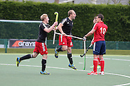 Luke Hawker of Wales © celebrates after he scores the only goal of the match in the 1-0 win. Mens international hockey, Wales v France at the National Hockey Centre, Sophia Gardens in Cardiff, South Wales on Thursday 21st April 2016.<br /> pic by Andrew Orchard, Andrew Orchard sports photography.