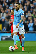 Nicolas Otamendi of Manchester City in action. Capital One Cup Final, Liverpool v Manchester City at Wembley stadium in London, England on Sunday 28th Feb 2016. pic by Chris Stading, Andrew Orchard sports photography.