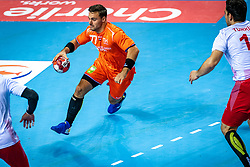The Dutch handball player Dani Baijens in action during the European Championship qualifying match against Turkey in the Topsport Center Almere.