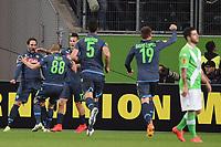 Fotball<br /> Tyskland<br /> 16.04.2015<br /> Foto: Witters/Digitalsport<br /> NORWAY ONLY<br /> <br /> 0:1 Jubel v.l. Torschuetze Ganzalo Higuain, Goekhan Inler, Marek Hamsik, Miguel Britos, David Lopez (Neapel)<br /> <br /> Fussball, Europa League, Viertelfinale Hinspiel, VfL Wolfsburg - SSC Napoli