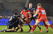 Sale Sharks hooker Rob Webber and flanker Mark Wilson combine to tackle Leicester Tigers second-row Will Spencer during a Gallagher Premiership Rugby Union match, Sale Sharks -V- Leicester Tigers, Friday, Feb. 21, 2020, in Eccles, United Kingdom. (Steve Flynn/Image of Sport via AP)
