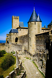 Walls and turrets of the medieval Cité de Carcassonne in southern France<br /> <br /> (c) Andrew Wilson   Edinburgh Elite media