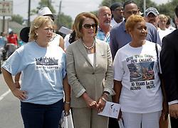 29 August 2015. Lower 9th Ward, New Orleans, Louisiana.<br /> Hurricane Katrina 10th anniversary memorials.  <br /> Former senator Mary Landrieu Congresswoman Nancy Pelosi attend the memorial. <br /> Photo credit©; Charlie Varley/varleypix.com.