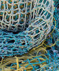 detail of colorful fishing nets
