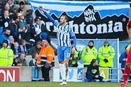 Brighton and Hove Albion forward Glenn Murray (17) celebrates to the fans 2-0 during the Premier League match between Brighton and Hove Albion and Swansea City at the American Express Community Stadium, Brighton and Hove, England on 24 February 2018. Picture by Phil Duncan.
