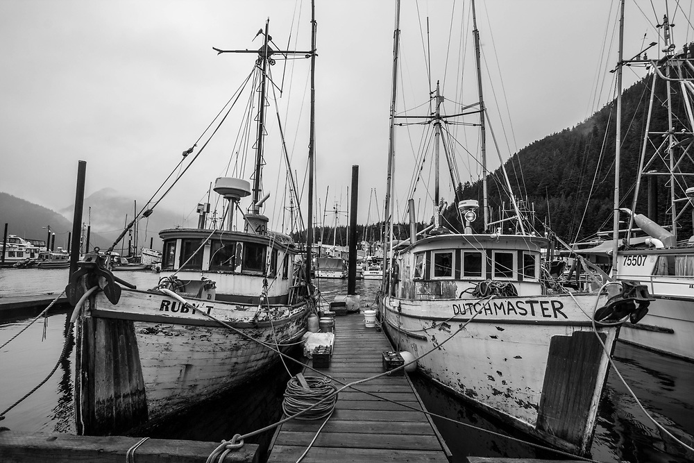 Classic wooden boats need a lot of work to keep them in shape.  Both trollers need to find a dry day to get painting.  Good luck in Pelican where they get 151 inches of rain and 101 inches of snow each year.