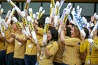 Workers get excited before the doors open by making noise at the grand opening of the new Ikea in Burbank. The new Ikea store comes in at 456,000 sf, compared to the old one at 242,000 sf. And 1,700 parking places.  Feb. 8, 2017  Photo by David Sprague