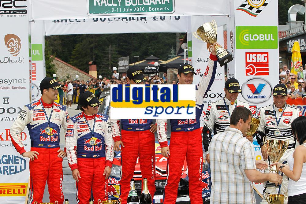 MOTORSPORT - WORLD RALLY CHAMPIONSHIP 2010 - RALLY BULGARIA / RALLYE DE BULGARIE - BOROVETS (BUL) - 08 TO 11/07/2010 - PHOTO : FRANCOIS BAUDIN / DPPI - <br /> SEBASTIEN LOEB (FRA) / DANIEL ELENA (MON) - CITROEN TOTAL RALLY TEAM - CITROEN C4 WRC - PODIUM - AMBIANCE DANI SORDO (SPA) / MARC MARTI (SPA) - CITROEN TOTAL RALLY TEAM - CITROEN C4 WRC - SOLBERG Petter / PATTERSON Chris - PETTER SOLBERG WORLD RALLY TEAM - CITRÖEN C4 WRC - ACTION CONGRATULARE BY SPORT MINISTER OF BULGARIA