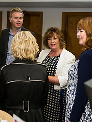 Pictured: Richard Lewis Culture and Sport Convenor Edinburgh Counci;, Ms Hyslop chat to Evelyn Kilmurray, Library and information manager. <br /> Culture Secretary Fiona Hyslop MSP visited Wester Hailes Library in Edinburgh today to meet primary-school pupils and Edinburgh City Council officials  to announce libraries support package<br /> <br /> Ger Harley   EEm 7 September 2016