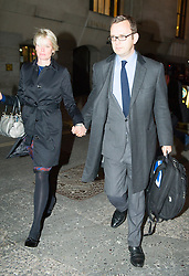 The Prime Minister David Cameron's ex spin Doctor Andy Coulson  leaves the Old Bailey with his wife Eloise after the official start of the Phone Hacking Trial, London, United Kingdom. Wednesday, 30th October 2013. Picture by i-Images
