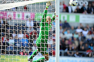 Everton keeper Tim Howard watches as a Swansea city free kick goes just over the bar.   Barclays Premier league, Swansea city v Everton at the Liberty stadium in Swansea, South Wales on Sat 22nd Sept 2012.   pic by  Andrew Orchard, Andrew Orchard sports photography,