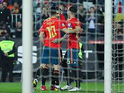 March 23, 2019 - Valencia, Valencia, Spain - Sergio Ramos, Morata and Asensio of Spain celebrating a goal during European Qualifiers championship, , football match between Spain and Norway, March 23th, in Mestalla Stadium in Valencia, Spain. (Credit Image: © AFP7 via ZUMA Wire)