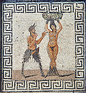 Roman mosaic of Pan and Hamadryad, a Greek mythological being that lives in trees , found in Pompeii, from the Farnese Collection, inv no 227708, Naples Archaeological Museum . .<br /> <br /> If you prefer to buy from our ALAMY PHOTO LIBRARY  Collection visit : https://www.alamy.com/portfolio/paul-williams-funkystock/roman-mosaic.html - Type -   Naples    - into the LOWER SEARCH WITHIN GALLERY box. Refine search by adding background colour, place, museum etc<br /> <br /> Visit our ROMAN MOSAIC PHOTO COLLECTIONS for more photos to download  as wall art prints https://funkystock.photoshelter.com/gallery-collection/Roman-Mosaics-Art-Pictures-Images/C0000LcfNel7FpLI
