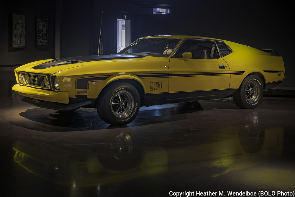 BOLO Photo<br /> Wild West Automotive Photography<br /> Vehicle Vault (2019)<br /> Yellow Light<br /> May 3, 2019: Parker, Colorado<br /> (1973 Ford Mustang Mach 1: Vehicle Vault)