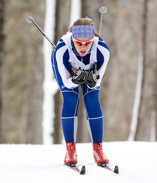 Meg Yoder of Colby College during the Colby College Winter Carnival 15 Kilometer Classic Mass Start at Quarry Road on January 23, 2016 in Waterville, ME. (Dustin Satloff)
