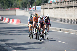 Hannah Barnes (GBR) of CANYON//SRAM Racing leads the break during the La Course, a 89 km road race in Paris on July 24, 2016 in France.